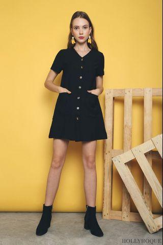 🚚 Hollyhoque Eloys Button Down Shift Dress Black S