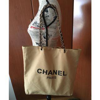 Instock! CC Beaute Classy Chain Strap Canvas Tote Bag (Beige) ASC3228  *GWP* + FREE Post