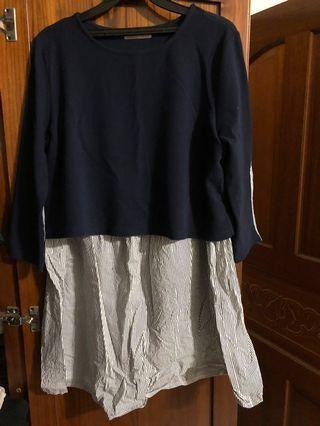 蔓蒂小舖假兩件條紋拼接孕婦洋裝(哺乳衣)
