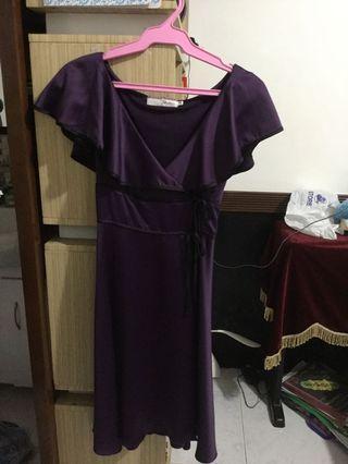 Violet silk texture wrap around dress