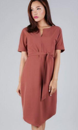 🚚 TTR Avril Sleeved Dress in Redwood Terracotta