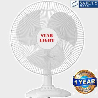 Desk Fan   12 Inches   Super Powerful   Starlight STF-98   3 Speed With Oscillation   Safety Mark  