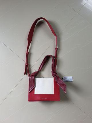 Charles n Keith Red Knotted Strap Handbag