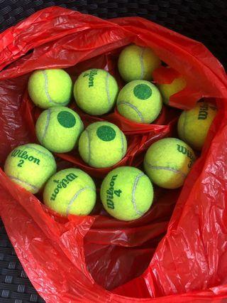 Used green dot tennis balls