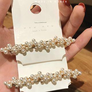 Jessica Shop /韓國空運🇰🇷神美 blingbling鑽石珍珠一字夾 質感100%