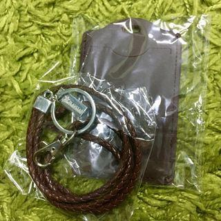 Leather ID Tag and Braided Lanyard Neck Strap Set
