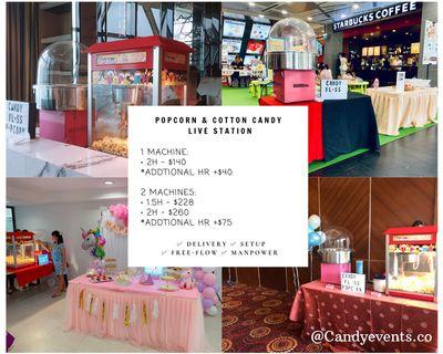 Free flow Popcorn and cotton candy machine live station rental (party service)