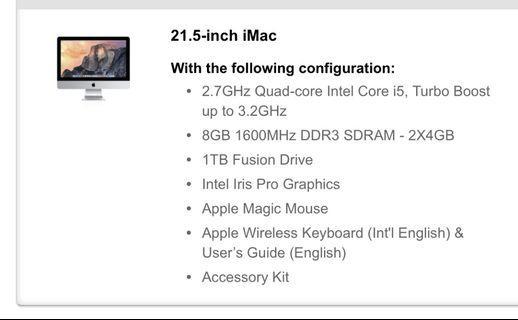 Apple iMac 21.5 Late 2013 with Fusion Drive (SSD+Sata)