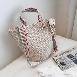 BN Straw Bag, Colourful Strap