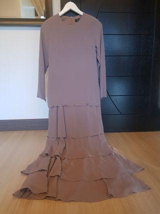 Long tiered chiffon dress