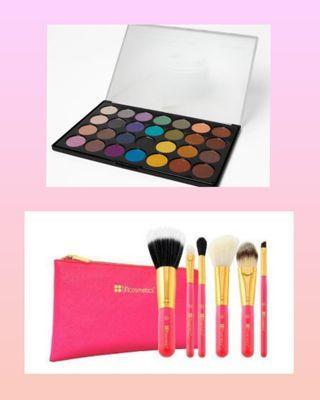 Bh Cosmetics Set of 2 Foil Eye Eyeshadow and Neon Pink Brush Set