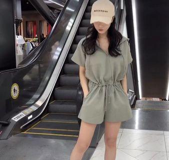 (9成新)正韓 挺版收腰抽繩連身褲