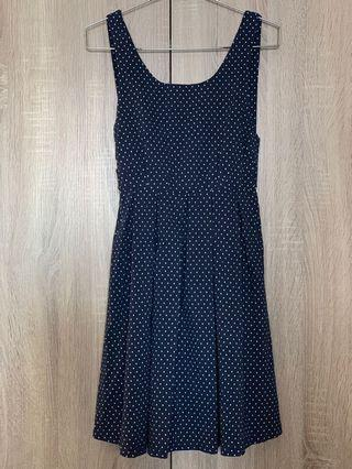 Navy Polka Dot Apron Dress