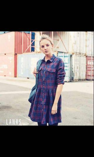 🚚 Blue | Red Flannel Dress