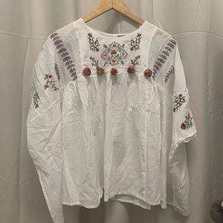 (REDUCED) Bohemian Embroidery Pom Pom Top