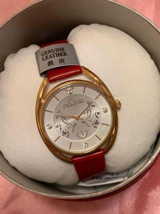 ( 限量版減價) 香港迪士尼紅色真皮錶