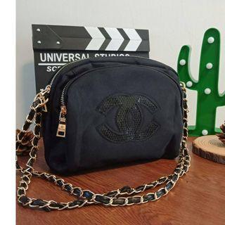 Instock! CC Precision Double Zip Sequin Bag (Black - With Black Logo) PO1117002132  + FREE Post