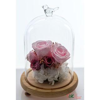 GREENHOUSE GLASS WITH LED LIGHT (24cm) - SPUMONI PINK ROSE