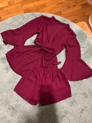 Maroon Red Kimono Set