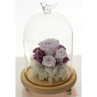 GREENHOUSE GLASS WITH LED LIGHT (24cm) - LAVENDER FIZZ ROSE