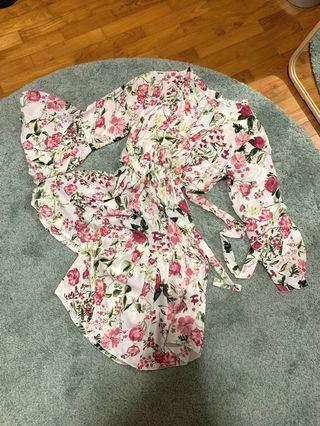 Off-White Floral Kimono Set