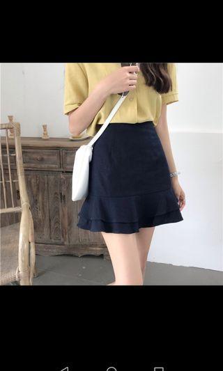 Elastic waist Dark blue skirt