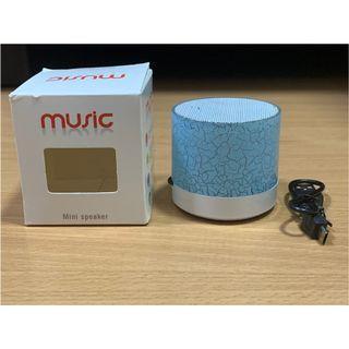 Mini Portable Speaker with LED Light (Blue) (New)