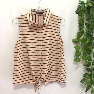 Peach n black stripe top