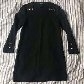 Zara方領黑色小洋裝(xs)