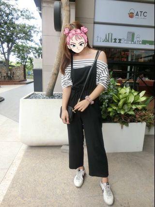 棉質黑色吊帶褲+條紋上衣(一組)