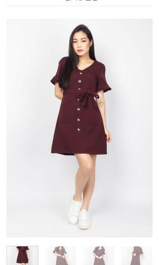 🚚 Maroon Flutter Dress