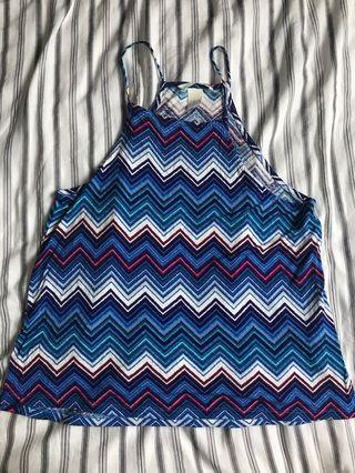 🚚 H&M鋸齒條紋背心上衣 (xs)