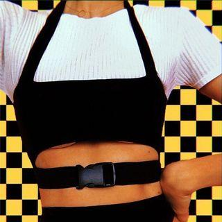 Black buckle ripped top tight midriff