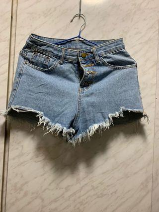 高腰牛仔短褲 high waisted pants denim