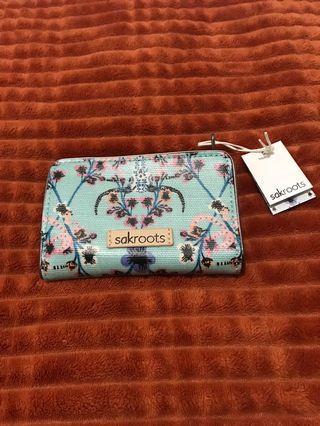 Sakroots wallet lt blue exclusive artist print by jane newland