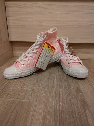 🚚 Converse all star 粉色毛呢格紋款低筒運動鞋 7號