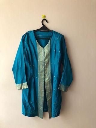 🚚 Blue Kebaya from Saree Material