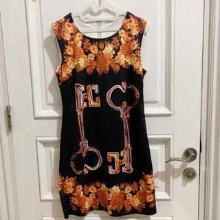 Floral Key Black Orange Dress