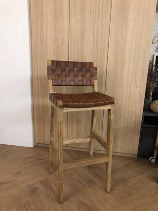 Woven Leather Strap Counter/Bar Stool