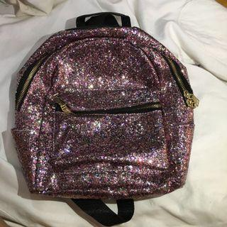 tas backpack mini pink glitter