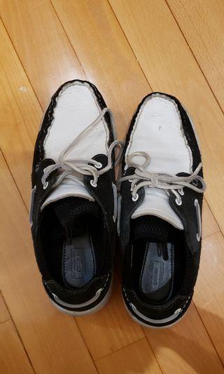 Visvim Hockney white black sneakers shoes 黑白 US9 boat shoes