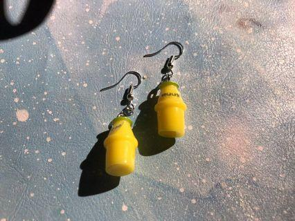 # banana yogurt drink Korean style cute quirky style unique ulzzang cute earrings trendy in trend