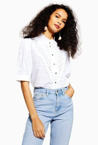 Topshop ivory broidery shirt