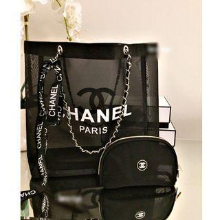 Instock! CC Makeup Chain Strap Mesh Tote Bag With Pouch (Black - White Logo) *GWP* PO 111500188+ FREE Post