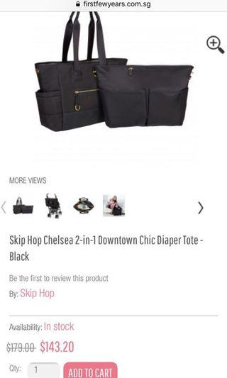 Skip Hop Chelsea 2-in-1 Downtown Chic Tote Bag Black/Gold