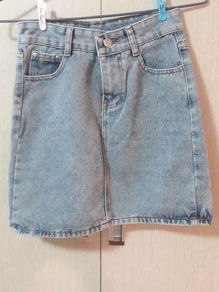 🚚 韓版 牛仔裙 牛仔刷色短裙  偏灰的藍
