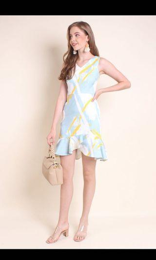 Leah Hi-Lo Ruffle Hem Abstract Dress #MRTRaffles