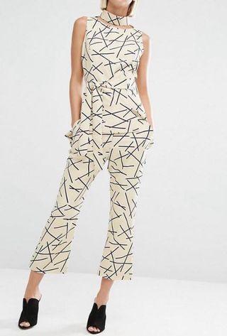 Lavish Alice abstract kick flare crop trousers