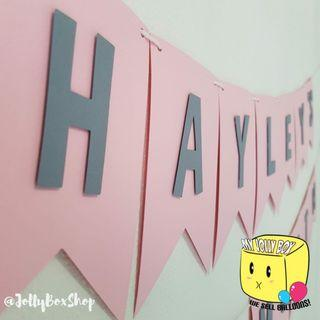Personalized Swallow Tail Bunting Banner with Pink Background and Grey Letters For Party Decorations #Partydecorations #Birthdaydecorations