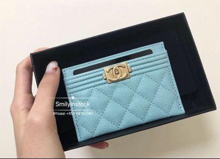 Chanel Tiffany Blue Boy Caviar Card Case